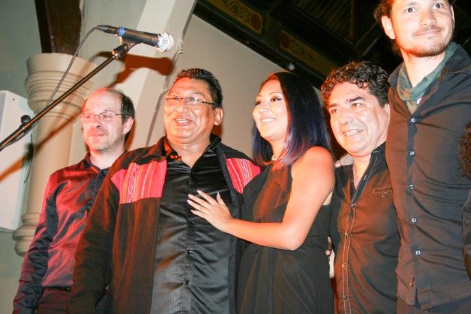 Willy Ríos, compositor, Mayra Patricia Ríos, vocalista, Rodrigo Salazar, Guitarrista