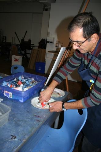 Preparación de la paleta. Foto: Patricia Morales Betancourt