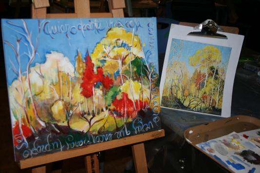 Proceso: se retoma una muestra, se prepara la paleta, se diseña y se dibuja. Foto y Pintura de Patricia Morales Betancourt