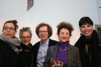 Ambre Gauthier, comisario de la obra de Chagall, su nieta Bella Meyer, Mikhail Rudy, maestro musical de la obra de Chagall, Meret Meyer, vicepresidente del Comitê Marc Chagall, y Nathalie Bondil, directora del Museo de Bellas Artes de Montreal.